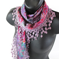 Print Scarf, Hip Scarf, Long Scarf, Pink Scarf, Lace Scarf, Hip Scarf, Gift For Her, Summer Scarf, Fringe Scarf, Trendy, Travel Accessories