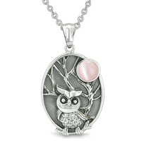 Amulet Owl and Wild Woods Magic Moon Charm Pink Cats Eye Crystal Pendant 22 Inch Necklace