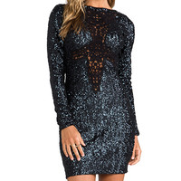 DRESS THE POPULATION Dani Long Sleeve Sequin Dress in Charcoal