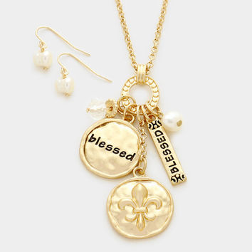 Gold Blessed Fleur de Lis charm pendant necklace and freshwater pearl earring set