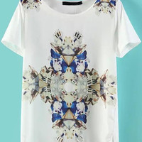 White Short Sleeve Rhinestone Floral Graphic T-Shirt