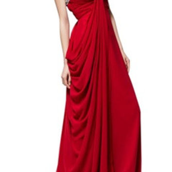 Beading Neckline Spaghetti Straps Side Draping Formal Dress