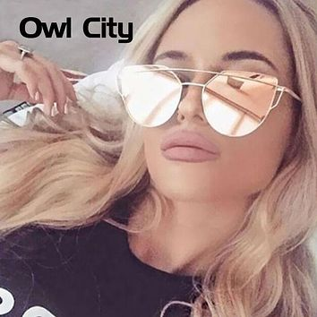 Owl City Cat eye Women Sunglasses Brand Design Mirror Flat Rose Gold Vintage Cateye Fashion sun glasses lady Eyewear UV400
