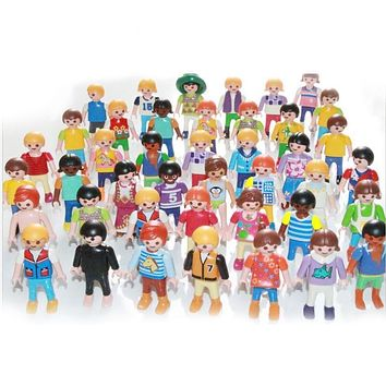 10pc 7cm Playmobil figures toy set 2017 New Playmobil police pirate princess horse house action figurines doll lot gifts for kid