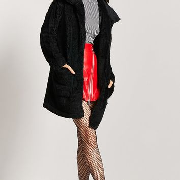 Open-Front Faux Fur Coat