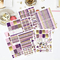 50% OFF Sale! DIY September Purple Gold Printable Planner 450 Stickers pdf and 6 jpeg Erin Condren Life Planner Kikkik Filofax