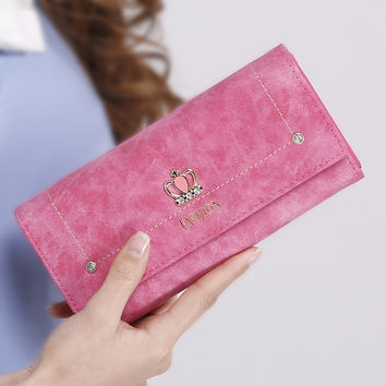 Fashion Crown Leather Wallet for Women