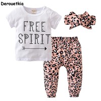 Summer baby girl leopard clothes fashion cotton t-shirt+pants+headband kids toddler 3pcs suit newborn baby girls clothes
