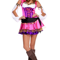 Pink Tiered Dress Gypsy Costume