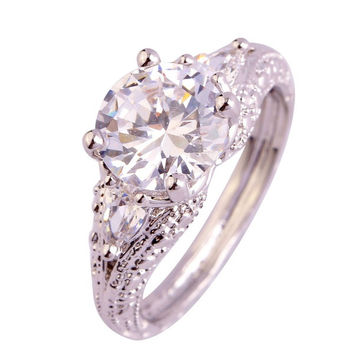 Love Style Bride Round Cut White Topaz Gemstones Silver Rings Size 6 7 8 9 10 11