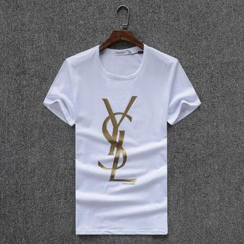 LMF3HD YSL Women or Men Fashion Casual Letter Print Shirt Top Tee