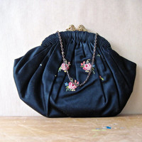 Antique Floral Embroidered Black Silk Purse Clutch, Bride Bridesmaid Wedding