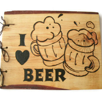 I Love Beer Book Wooden Larger Beer Brew by BillsWoodenPleasures