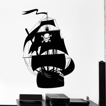 Wall Vinyl Decal Pirate Ship Sea Marine Yacht Ocean Decor Unique Gift z3975
