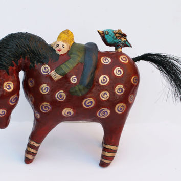 A Horse, A Girl and A Bird - Paper Mache Clay Horse Sculpture