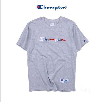 DCCKR2 Color three-dimensional embroidery T-shirt men and women cotton letters short-sleeved round neck short T shirt