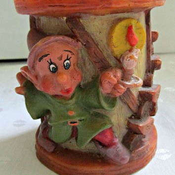 German Wax Pillar Candle Handmade Disneyana Exclusive Design Seven Dwarfs Dopey