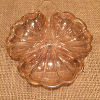 Carnival Iridescent Peach Colored Jeannette Glass in Doric or Pansy Pattern/1937-1938/Depression Glass/Jewelry, Nuts or Candy Dish/Holidays