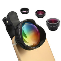 Phone Lens 180° Fisheye Lens+15X Macro lens+0.65X 100°Wide Angle Lens+3x Optical Zoom Telephoto Phone Camera Lens Kit with Clips for iPhone 6 6S Plus Samsung S6/S7 Edge