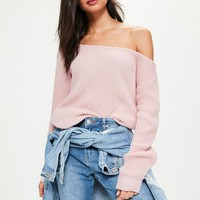 Missguided - Pink Off Shoulder Sweater