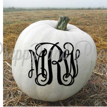 Personalized Monogrammed Sticker Decal for Pumpkins|Halloween|October 31|Tumbler sticker|Cooler monogram
