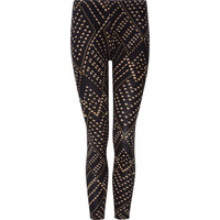 Lily White Pyramid Stud Print Womens Leggings Black  In Sizes