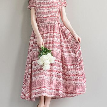Women Printed Short Sleeve High Waist Cotton Long Maxi Dresses