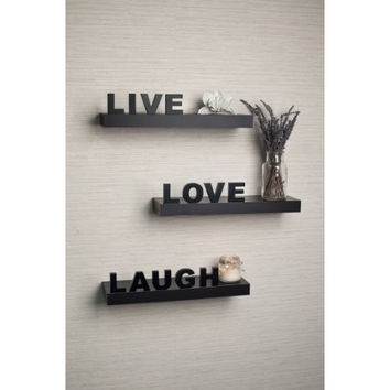 "Decorative ""Live"" ""Love"" ""Laugh"" Black Wall Shelves (Set of 3)"