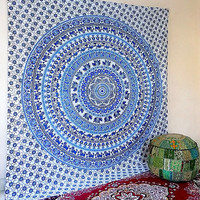 WHITE BLUE Cotton Fabric Tapestry Boho Mandala Large Wall Hanging Throw Bohemian Hippie Bedspread Bedding Ethnic Home Decor - FabricSarmaya