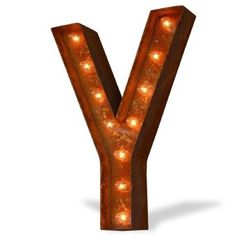 "12"" Letter Y Lighted Vintage Marquee Letters (Modern Font/Rustic)"