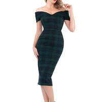'Rhonda's Revenge' Black Watch Tartan Vintage 50s Pencil Dress - British Retro
