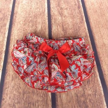 Hot Shorts Petti Baby Clothes ,Red Paisley Ruffled Baby Diaper Cover ,Summer Printed Ruffle Baby bloomer ,Cotton Baby AT_43_3