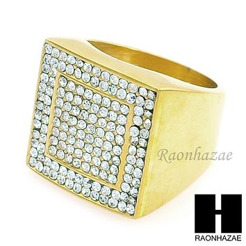 MEN RING 316L STAINLESS STEEL GOLD TONE CZ BLING RING SIZE 8-12 SR005G