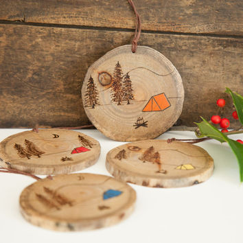 Wood Burned camping scene ornament. Rustic wooden pine campfire, tent, trees, mountains and moon Christmas ornament.
