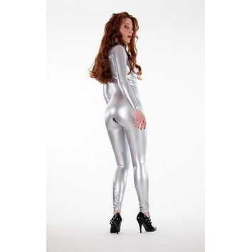 Silver Latex Look PVC Catsuit