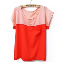 Women Summer New Candy Splicing Casual Loose Pocket Scoop Chiffon Orange T-Shirt One Size@II1014o $10.77 only in eFexcity.com.