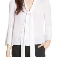 Alice + Olivia Meredith Tie Neck Silk Blouse | Nordstrom