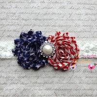 Vintage american flag 4th of July headband by MyLilSweetieBoutique