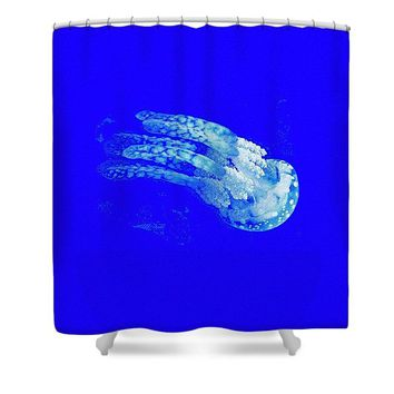 The Glowing Jelly Fish By Adam Asar - Shower Curtain