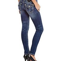 Miss Me Thick-Stitch Skinny Jeans - Medium Blue