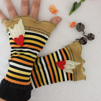 Striped gloves, Mittens hippie, Boho gloves, Orange black yellow gloves, Fingerless gloves, Arm warmers, Women's fashion, Costume gloves