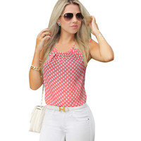 Vfemage Womens Summer Style Chiffon Sexy Cut Out Back Straps Floral Polka Dot Casual Beach Loose Top Shirt Blouse 908