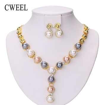CWEEL Jewelry Sets Wedding African Beads Jewelry Set Imitation Pearl Bridal Dubai Indian Fashion Christmas Jewellery For Women