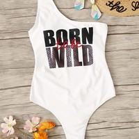 One Shoulder Letter One Piece Swimsuit