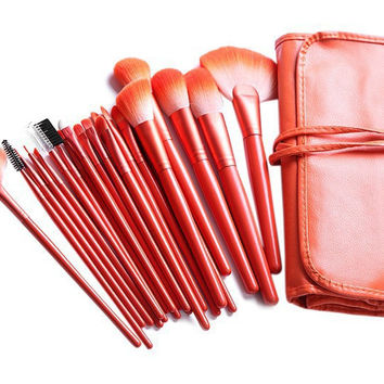 Hot Deal Stylish Professional On Sale Hot Sale Beauty Make-up 24-pcs Orange Make-up Brush Set Animal Wool Make-up Palette [6048692417]