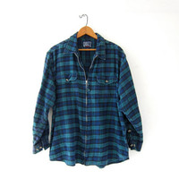Vintage Plaid Flannel / Grunge Shirt / Boyfriend zip up shirt / Tomboy flannel / Flannel shirt jacket