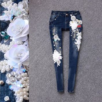 Women Ladies Clothing Denim Skinny Ripped Pants Luxury Handmade Embroidered Flares Rhinestones Pencil Pants Stretch Jeans OM330