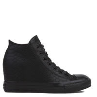 Converse Chuck Taylor All Star Lux Embossed Reptile Mid Top Sneaker Wedges in Black