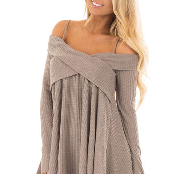 Mocha Waffle Knit Criss Cross Top with Bare Shoulders