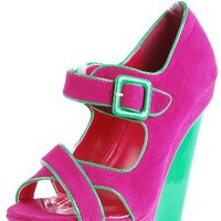 Peace8 Buckle Two Tone Suede Wedges FUCHSIA